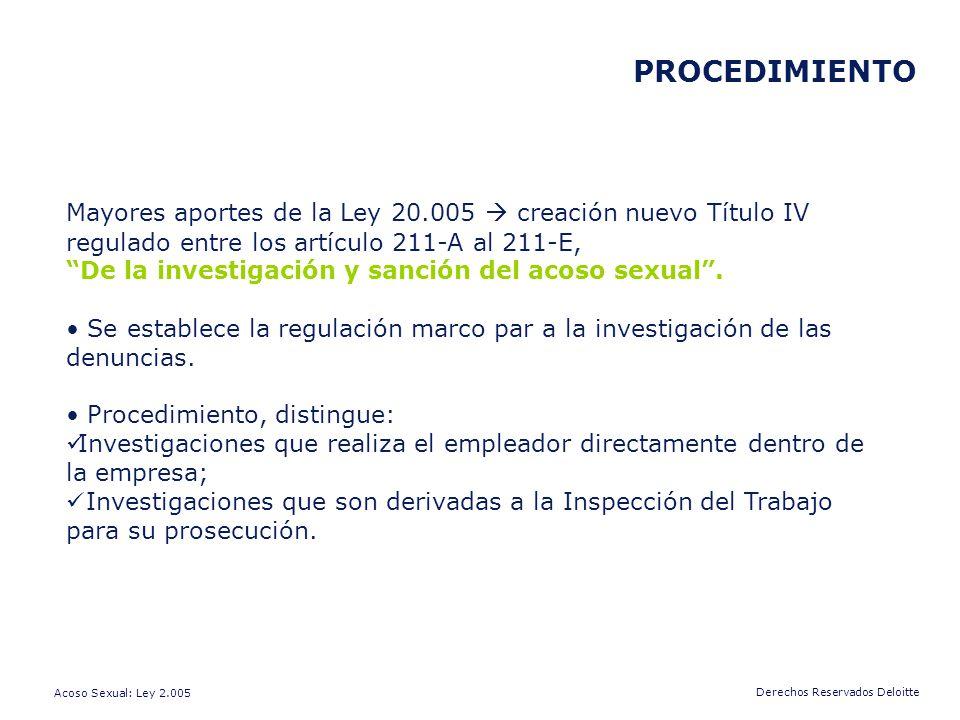 PROCEDIMIENTO Mayores aportes de la Ley 20.005  creación nuevo Título IV regulado entre los artículo 211-A al 211-E,