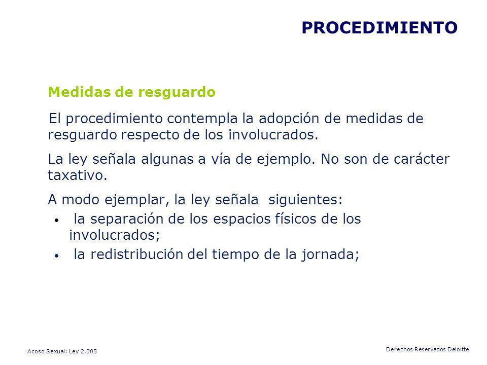 Medidas de resguardo PROCEDIMIENTO