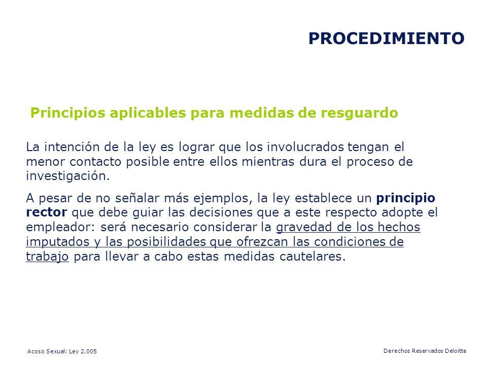 PROCEDIMIENTO Principios aplicables para medidas de resguardo