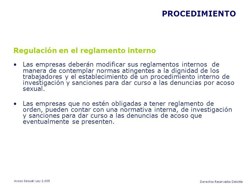 PROCEDIMIENTO Regulación en el reglamento interno