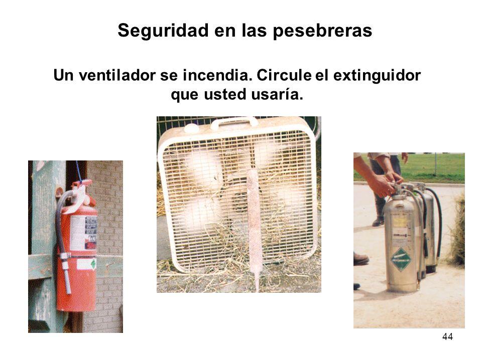 Un ventilador se incendia. Circule el extinguidor que usted usaría.