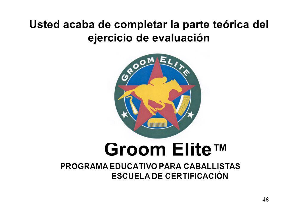 Usted acaba de completar la parte teórica del ejercicio de evaluación Groom Elite™ PROGRAMA EDUCATIVO PARA CABALLISTAS ESCUELA DE CERTIFICACIÓN