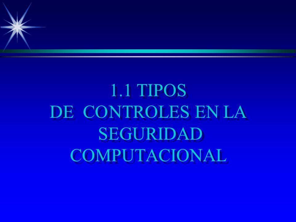 1.1 TIPOS DE CO NTROLES EN LA SEGURIDAD COMPUTACIONAL