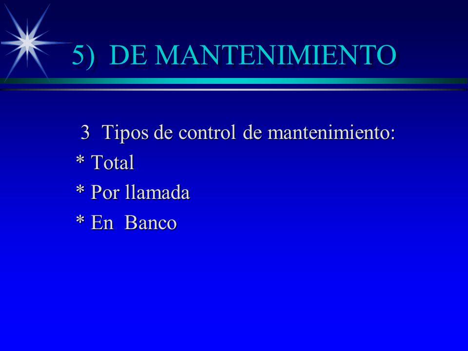 3 Tipos de control de mantenimiento: * Total * Por llamada * En Banco
