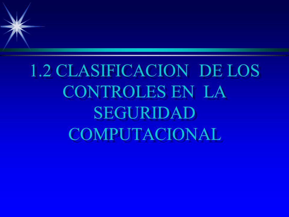 1.2 CLASIFICACION DE LOS CONTROLES EN LA SEGURIDAD COMPUTACIONAL