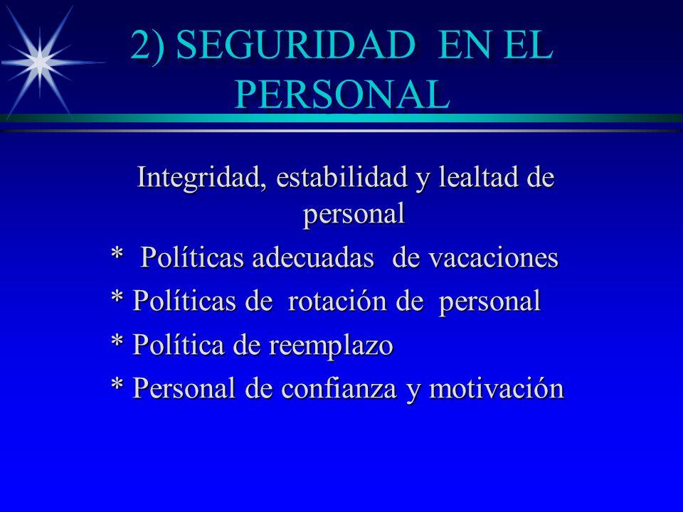 2) SEGURIDAD EN EL PERSONAL