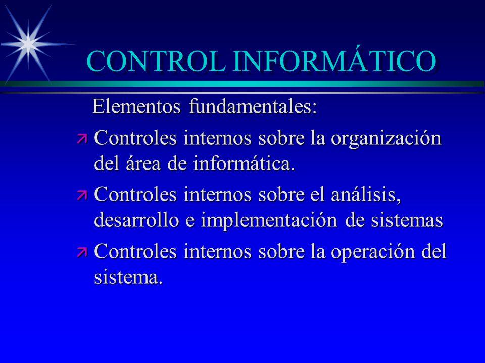 CONTROL INFORMÁTICO Elementos fundamentales: