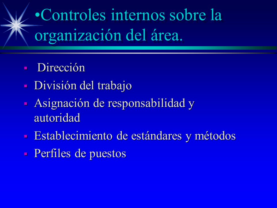 Controles internos sobre la organización del área.