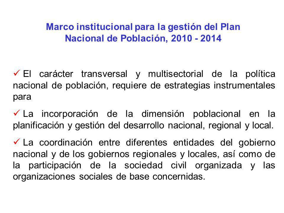 Marco institucional para la gestión del Plan Nacional de Población, 2010 - 2014