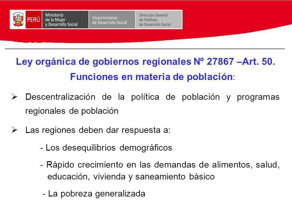 Ley orgánica de gobiernos regionales Nº 27867 –Art. 50