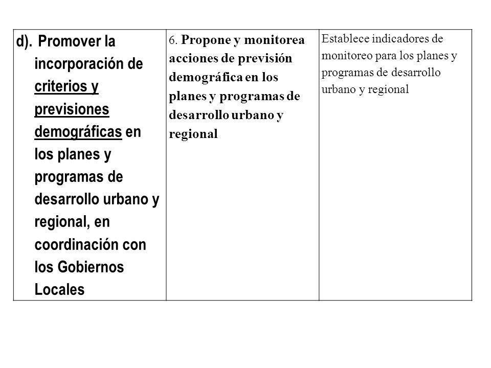 d). Promover la incorporación de criterios y previsiones demográficas en los planes y programas de desarrollo urbano y regional, en coordinación con los Gobiernos Locales