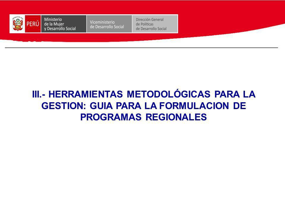 III.- HERRAMIENTAS METODOLÓGICAS PARA LA GESTION: GUIA PARA LA FORMULACION DE PROGRAMAS REGIONALES