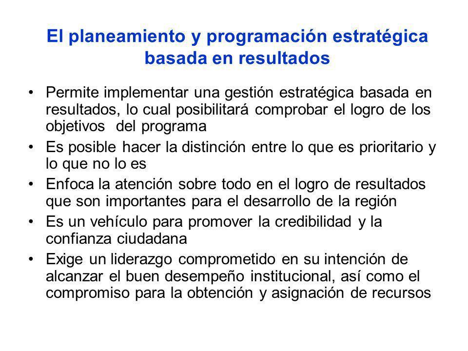 El planeamiento y programación estratégica basada en resultados