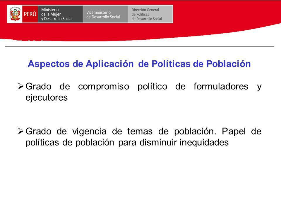 Aspectos de Aplicación de Políticas de Población