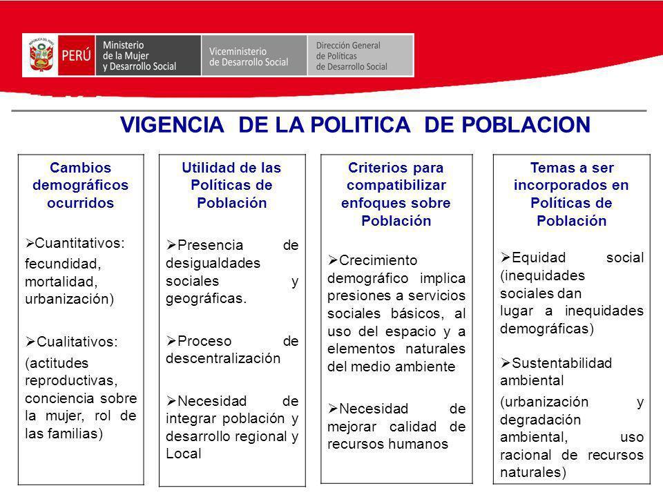 VIGENCIA DE LA POLITICA DE POBLACION