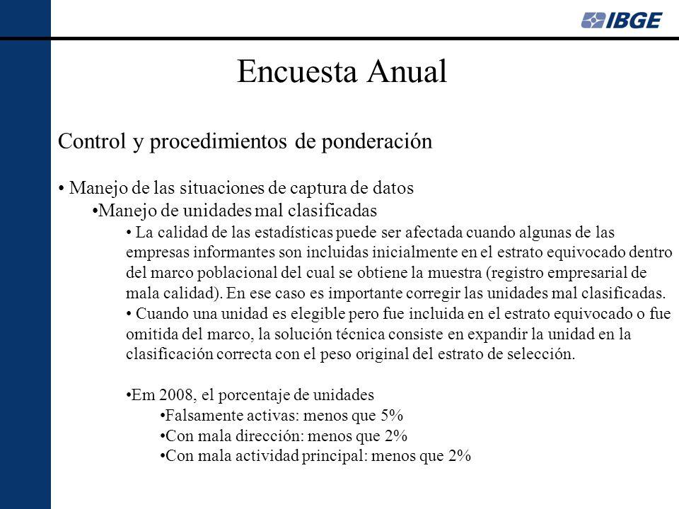 Encuesta Anual Control y procedimientos de ponderación