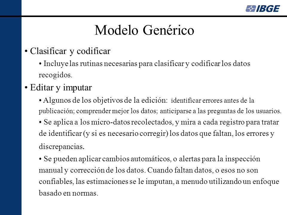 Modelo Genérico Clasificar y codificar Editar y imputar