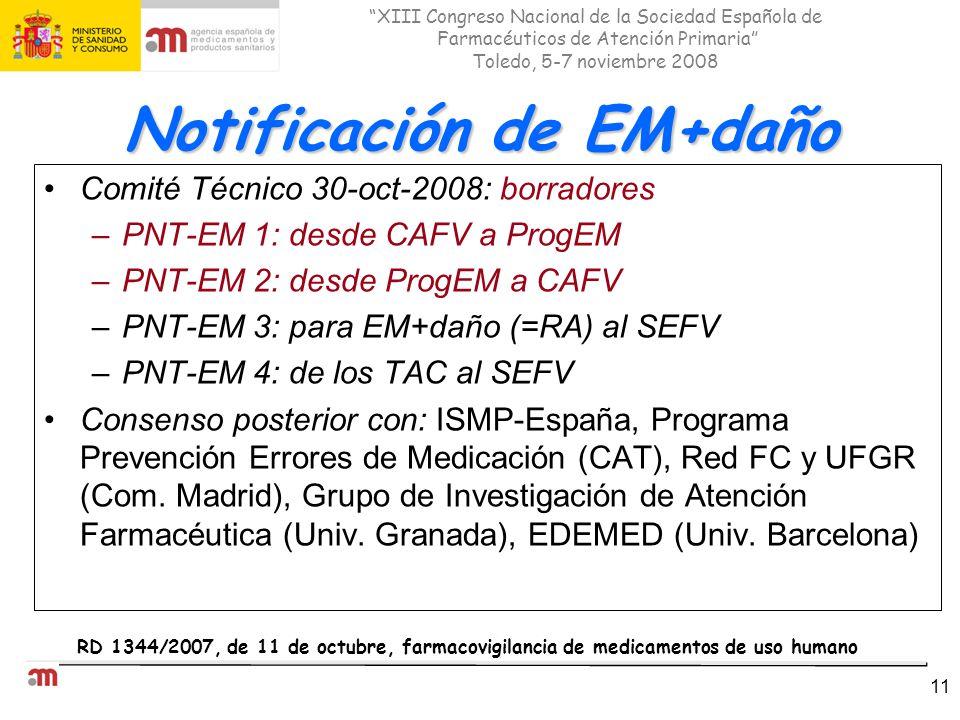 Notificación de EM+daño