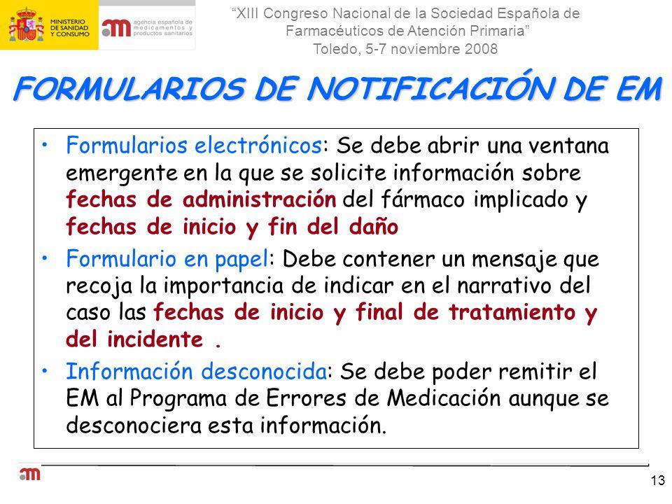 FORMULARIOS DE NOTIFICACIÓN DE EM