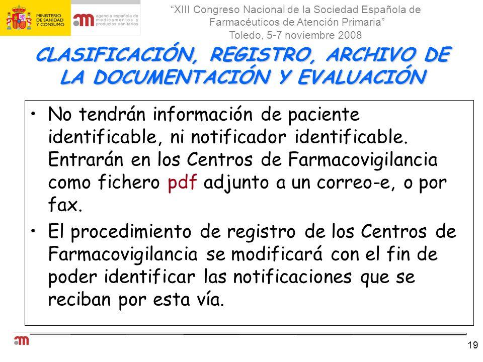 CLASIFICACIÓN, REGISTRO, ARCHIVO DE LA DOCUMENTACIÓN Y EVALUACIÓN