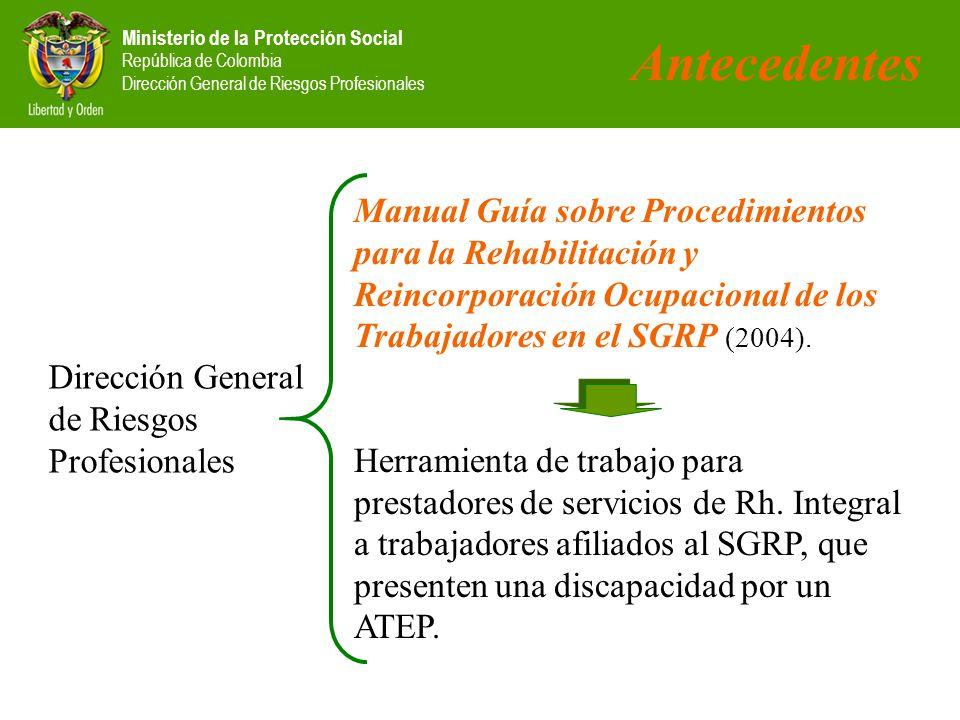 Antecedentes Manual Guía sobre Procedimientos para la Rehabilitación y Reincorporación Ocupacional de los Trabajadores en el SGRP (2004).