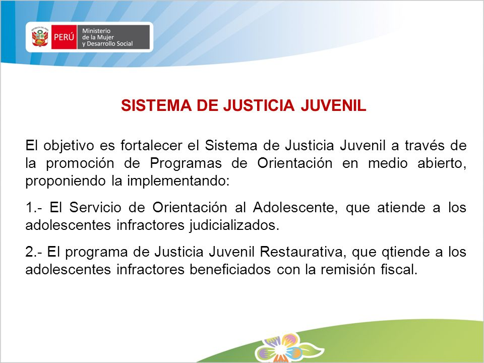 SISTEMA DE JUSTICIA JUVENIL