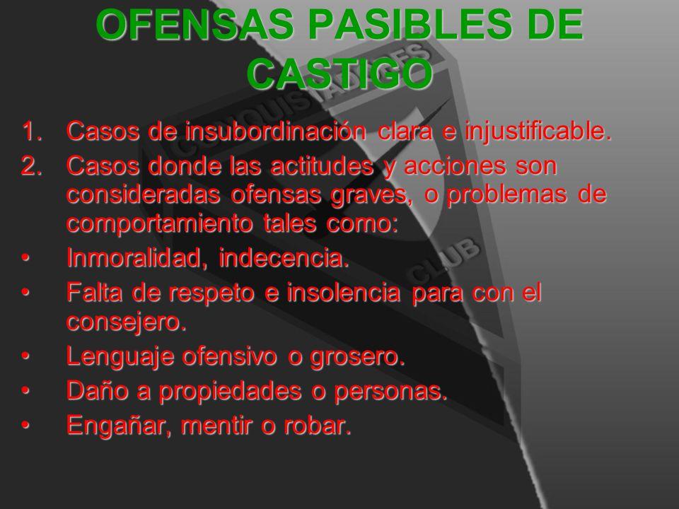 OFENSAS PASIBLES DE CASTIGO