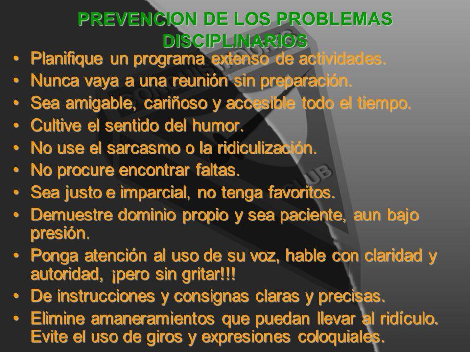 PREVENCION DE LOS PROBLEMAS DISCIPLINARIOS
