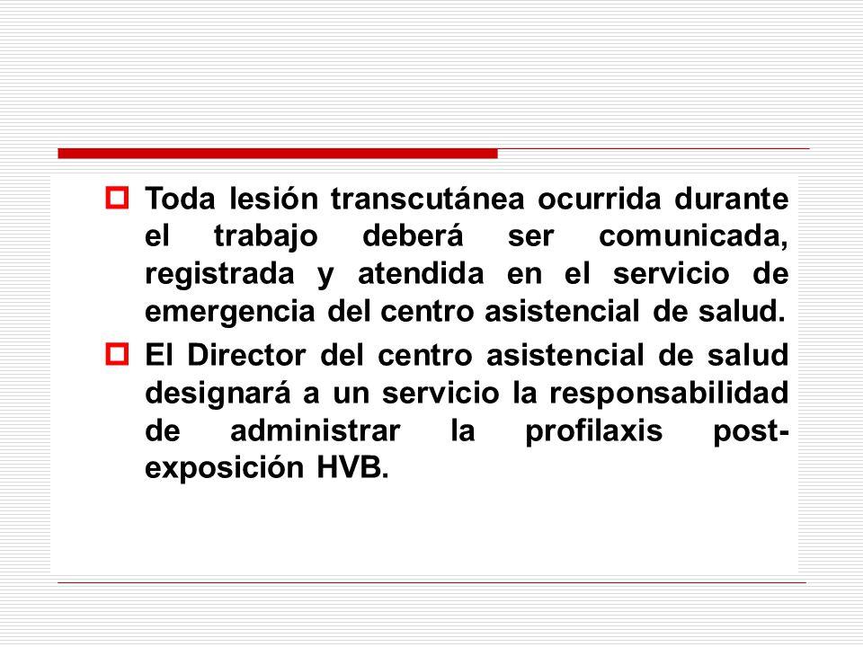 Toda lesión transcutánea ocurrida durante el trabajo deberá ser comunicada, registrada y atendida en el servicio de emergencia del centro asistencial de salud.