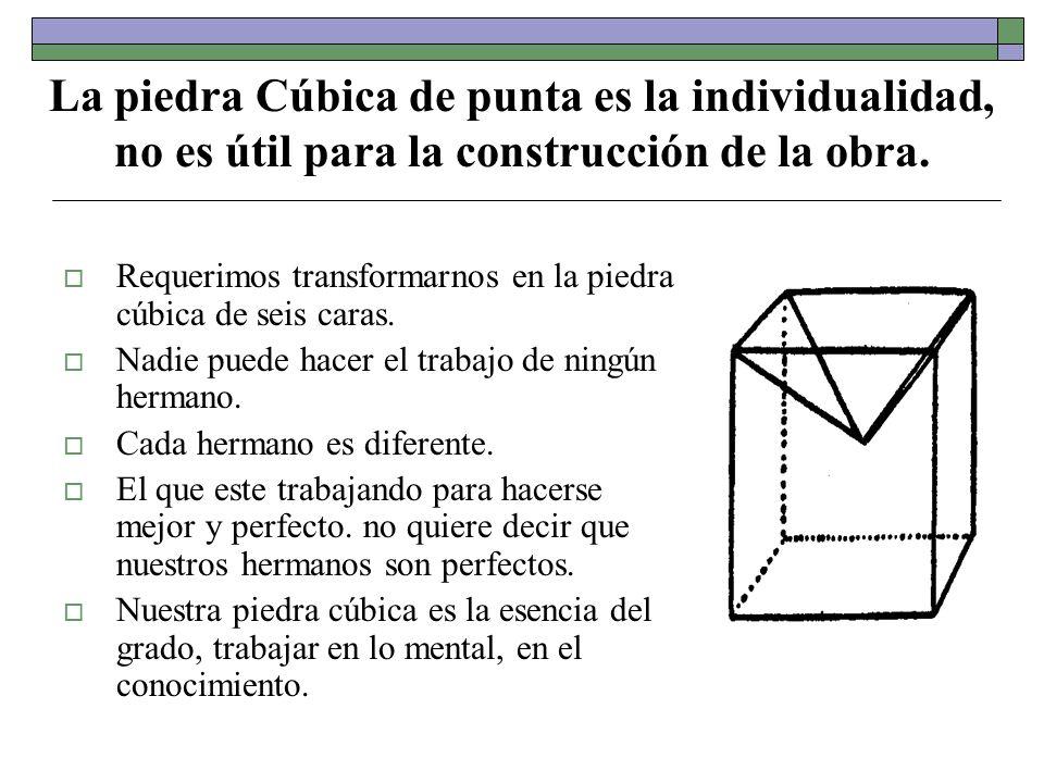 La piedra Cúbica de punta es la individualidad, no es útil para la construcción de la obra.