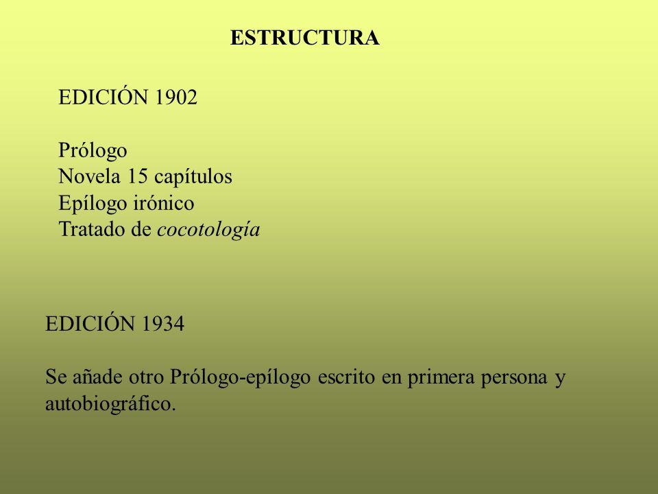 ESTRUCTURA EDICIÓN 1902. Prólogo. Novela 15 capítulos. Epílogo irónico. Tratado de cocotología.