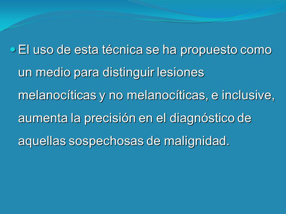 El uso de esta técnica se ha propuesto como un medio para distinguir lesiones melanocíticas y no melanocíticas, e inclusive, aumenta la precisión en el diagnóstico de aquellas sospechosas de malignidad.