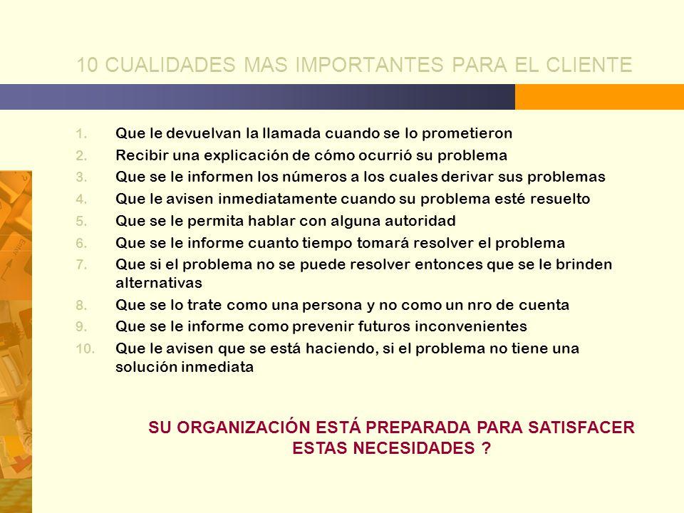 10 CUALIDADES MAS IMPORTANTES PARA EL CLIENTE