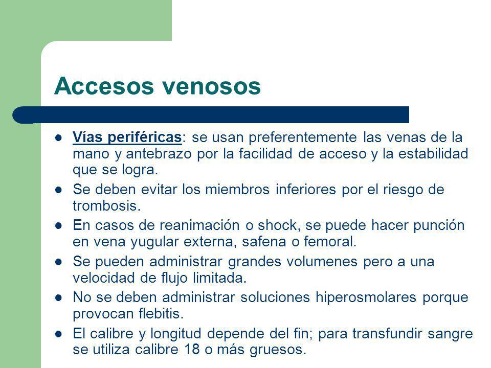 Accesos venosos Vías periféricas: se usan preferentemente las venas de la mano y antebrazo por la facilidad de acceso y la estabilidad que se logra.