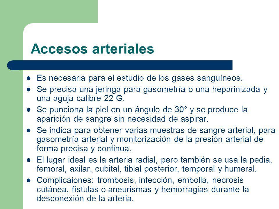 Accesos arteriales Es necesaria para el estudio de los gases sanguíneos.
