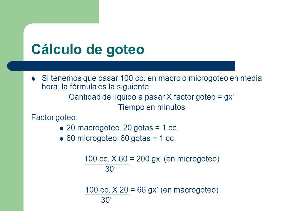 Cálculo de goteo Si tenemos que pasar 100 cc. en macro o microgoteo en media hora, la fórmula es la siguiente: