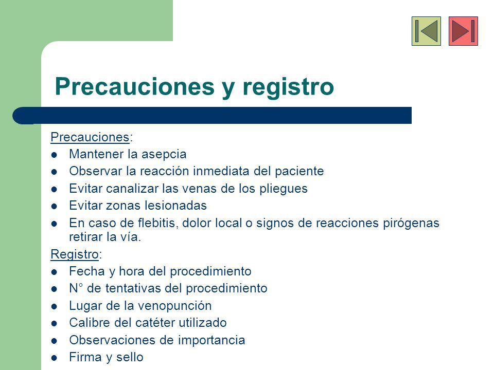 Precauciones y registro