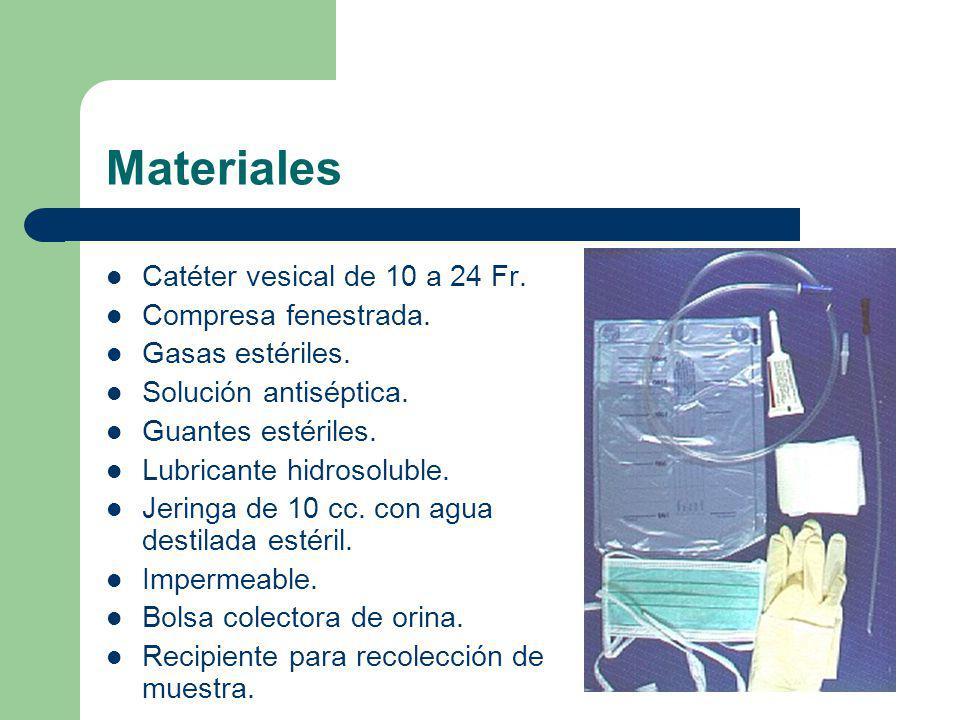 Materiales Catéter vesical de 10 a 24 Fr. Compresa fenestrada.