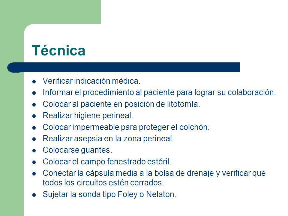 Técnica Verificar indicación médica.