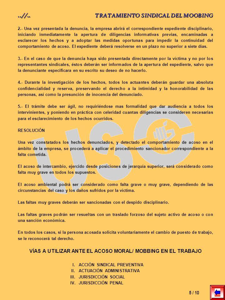 VÍAS A UTILIZAR ANTE EL ACOSO MORAL/ MOBBING EN EL TRABAJO