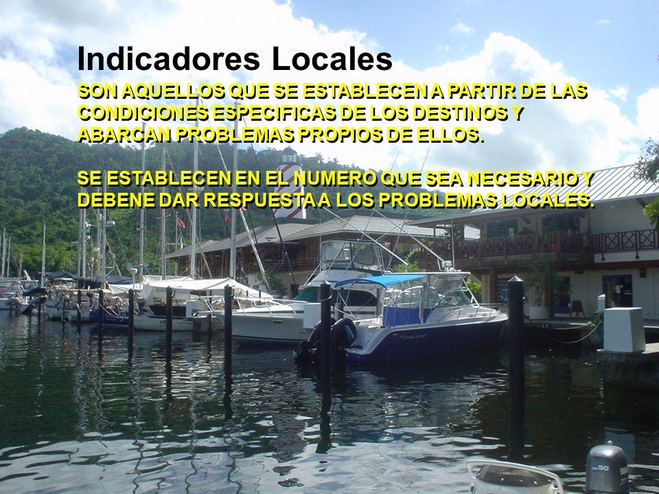 Indicadores Locales SON AQUELLOS QUE SE ESTABLECEN A PARTIR DE LAS CONDICIONES ESPECIFICAS DE LOS DESTINOS Y ABARCAN PROBLEMAS PROPIOS DE ELLOS.