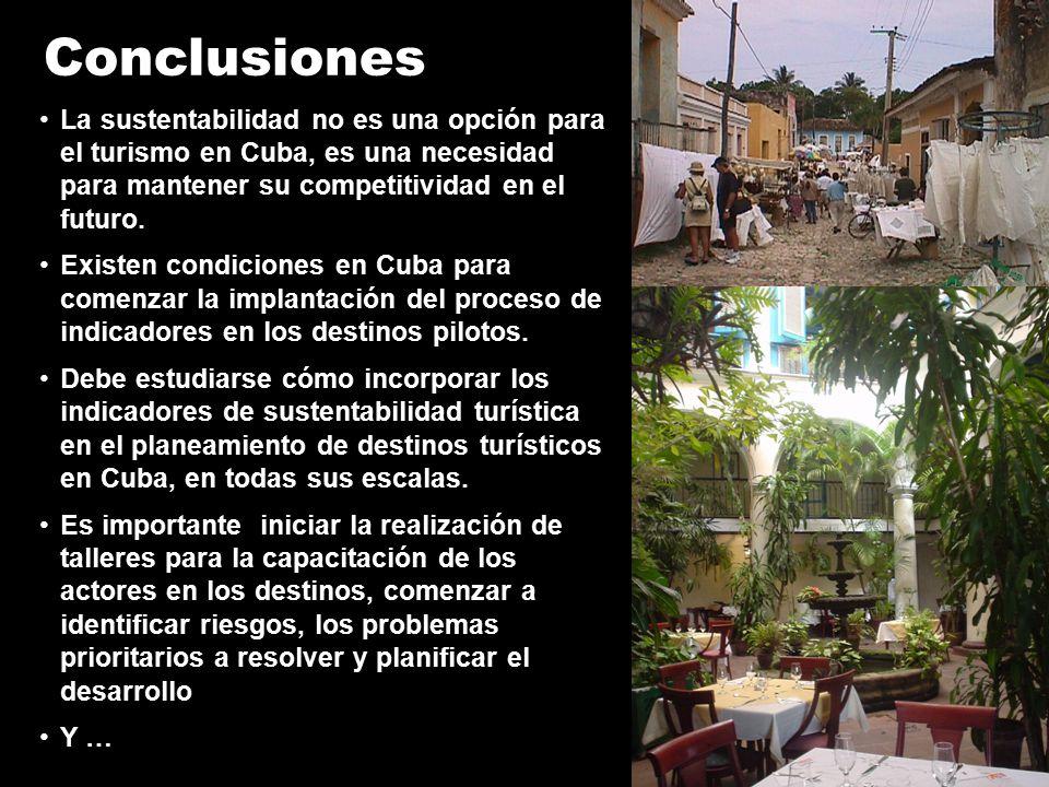 Conclusiones La sustentabilidad no es una opción para el turismo en Cuba, es una necesidad para mantener su competitividad en el futuro.