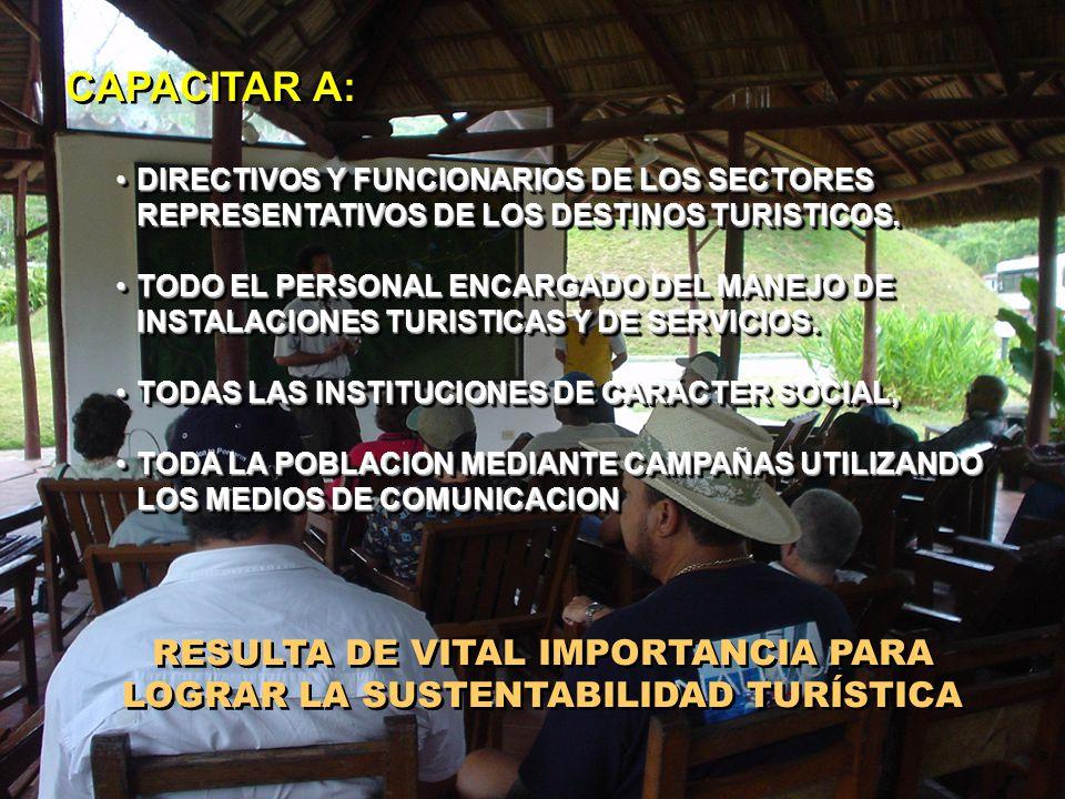 RESULTA DE VITAL IMPORTANCIA PARA LOGRAR LA SUSTENTABILIDAD TURÍSTICA