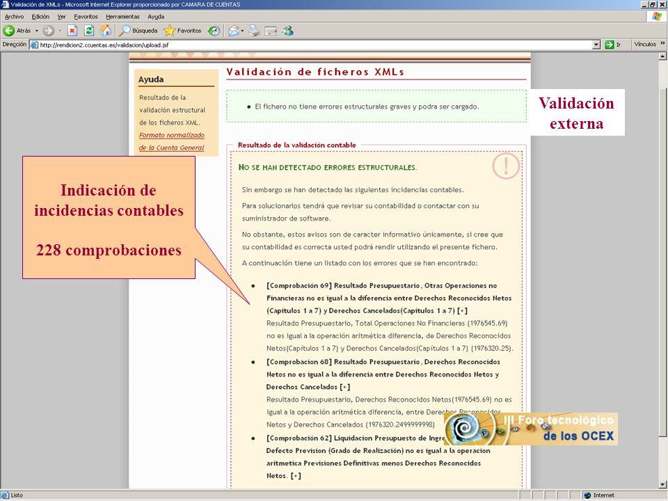 Indicación de incidencias contables