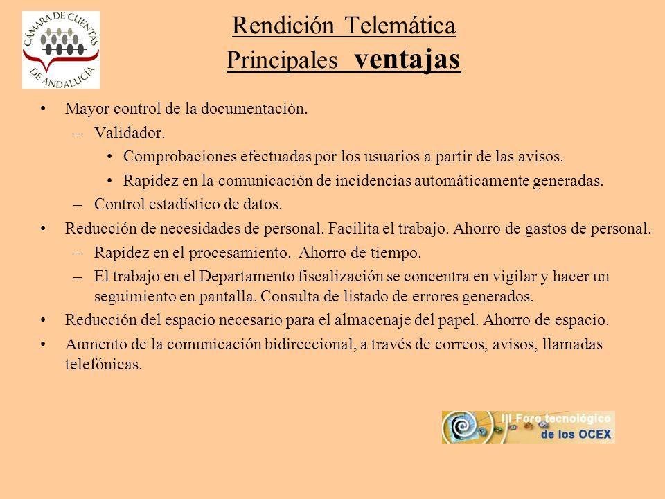 Rendición Telemática Principales ventajas