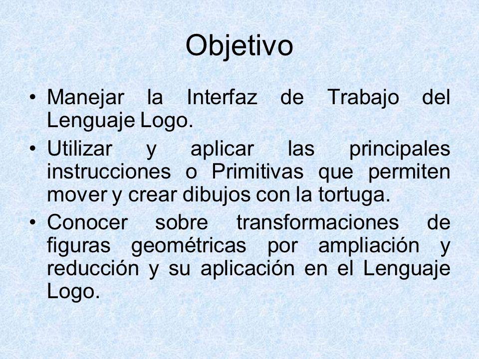 Objetivo Manejar la Interfaz de Trabajo del Lenguaje Logo.