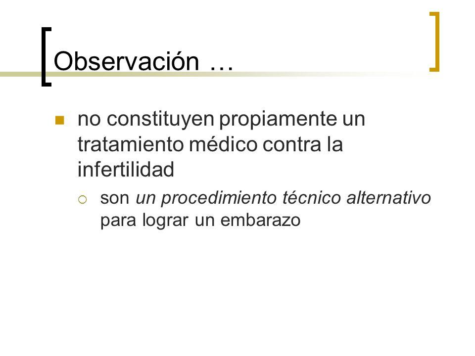 Observación … no constituyen propiamente un tratamiento médico contra la infertilidad.
