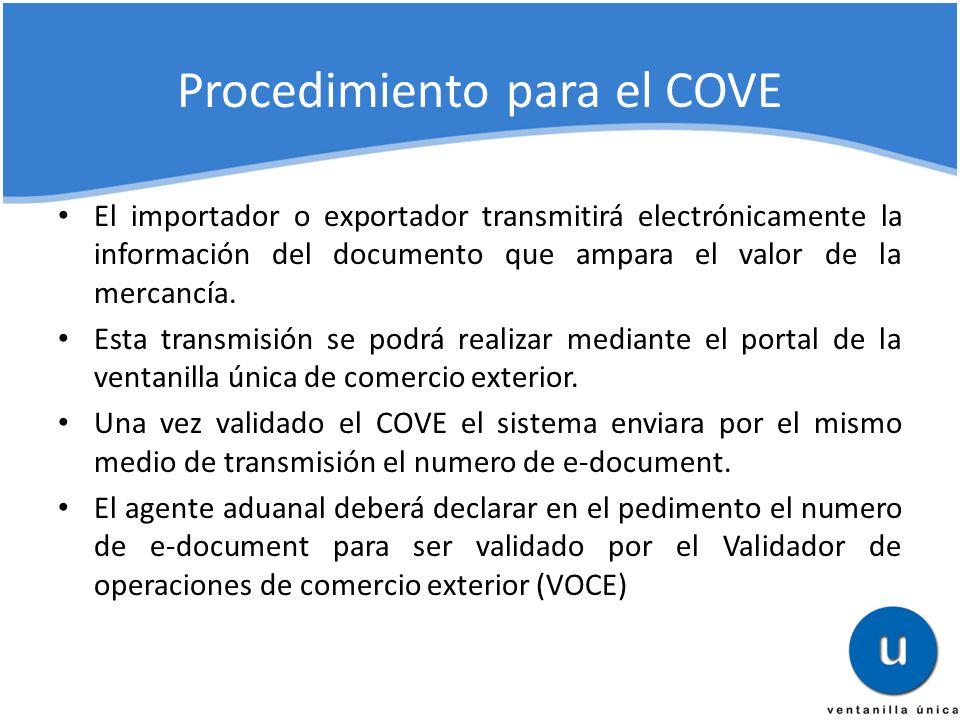 Procedimiento para el COVE