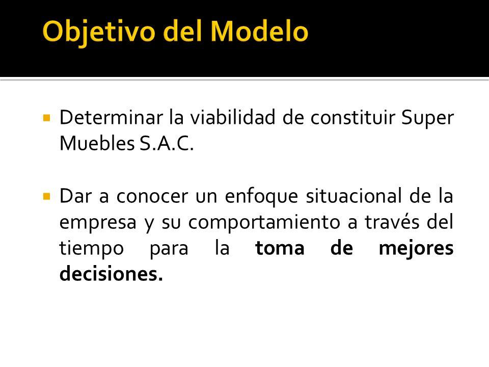 Objetivo del Modelo Determinar la viabilidad de constituir Super Muebles S.A.C.