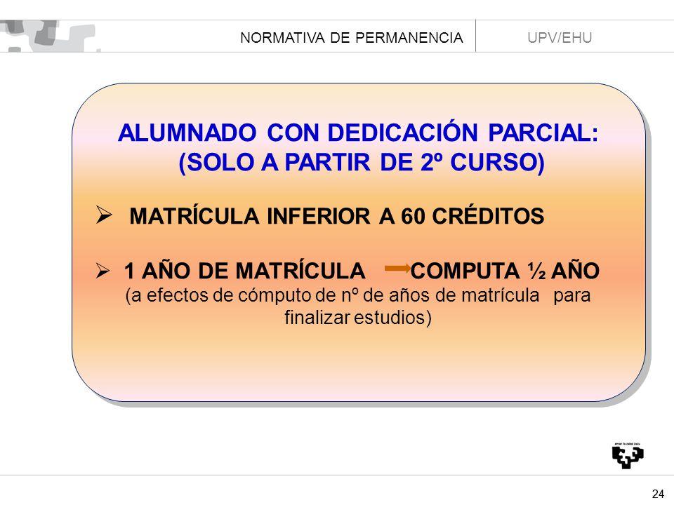 ALUMNADO CON DEDICACIÓN PARCIAL: (SOLO A PARTIR DE 2º CURSO)